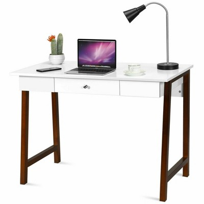 Costway Computer Desk Laptop PC Writing Table Makeup Vanity Table w/Drawer and Wood Legs