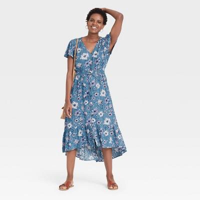 Women's Floral Print Flutter Short Sleeve Dress - Knox Rose™ Blue