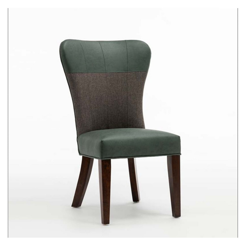 Bolton Upholstered Dining Chair Green & Gray (Set of 2) - Boraam