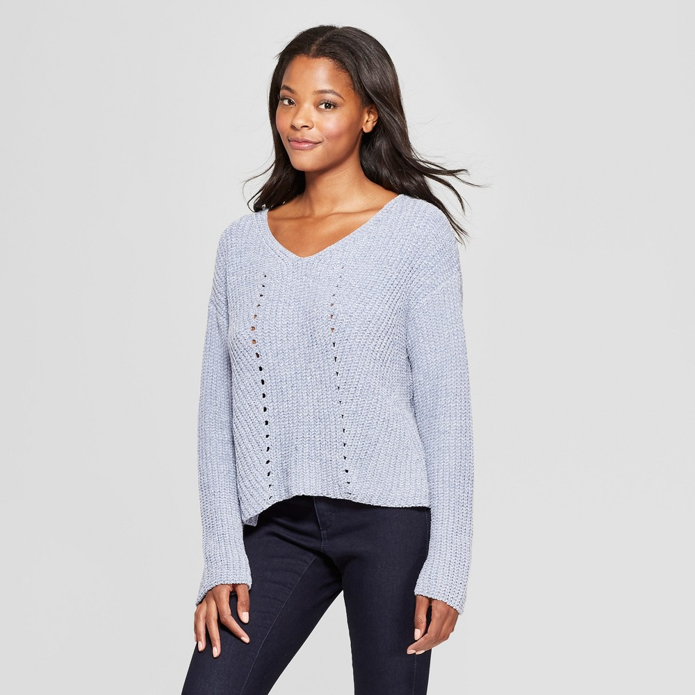 Women's Long Sleeve Chenille Eyelet Stitch Pullover Sweater - Love @ First Sight (Juniors') Blue XL