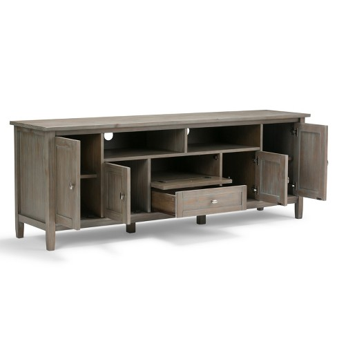 Norfolk Solid Wood Tv Media Stand Distressed Gray For Tvs Up To 80