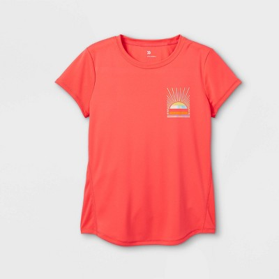 Girls' Short Sleeve Sun Graphic T-Shirt - All in Motion™ Coral