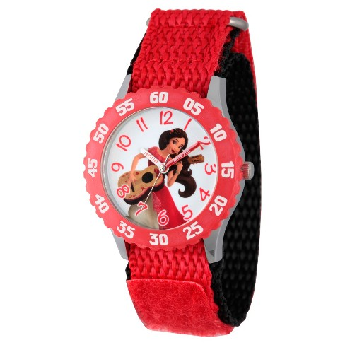 Girls' Disney Elena of Avalor Stainless Steel  Time Teacher Watch With Red Bezel - Red - image 1 of 2