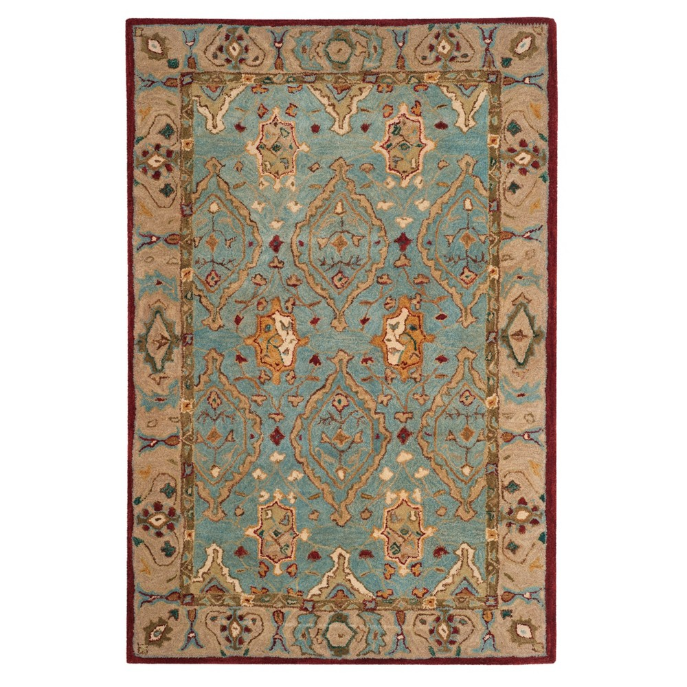 Blue/Ivory Floral Tufted Accent Rug 4'X6' - Safavieh, White Blue