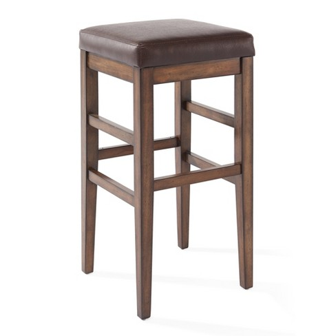 Amazing 26 Sonata Counter Height Wood Backless Barstool In Chestnut Finish And Kahlua Faux Leather Armen Living Theyellowbook Wood Chair Design Ideas Theyellowbookinfo