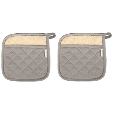 "2pk 9""x9"" Herringbone Potholder Gray - Mu Kitchen"