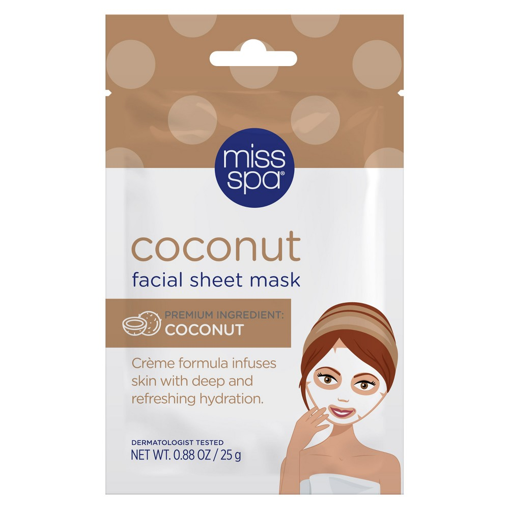 Image of Unscented Miss Spa Coconut Facial Sheet Mask - 1ct