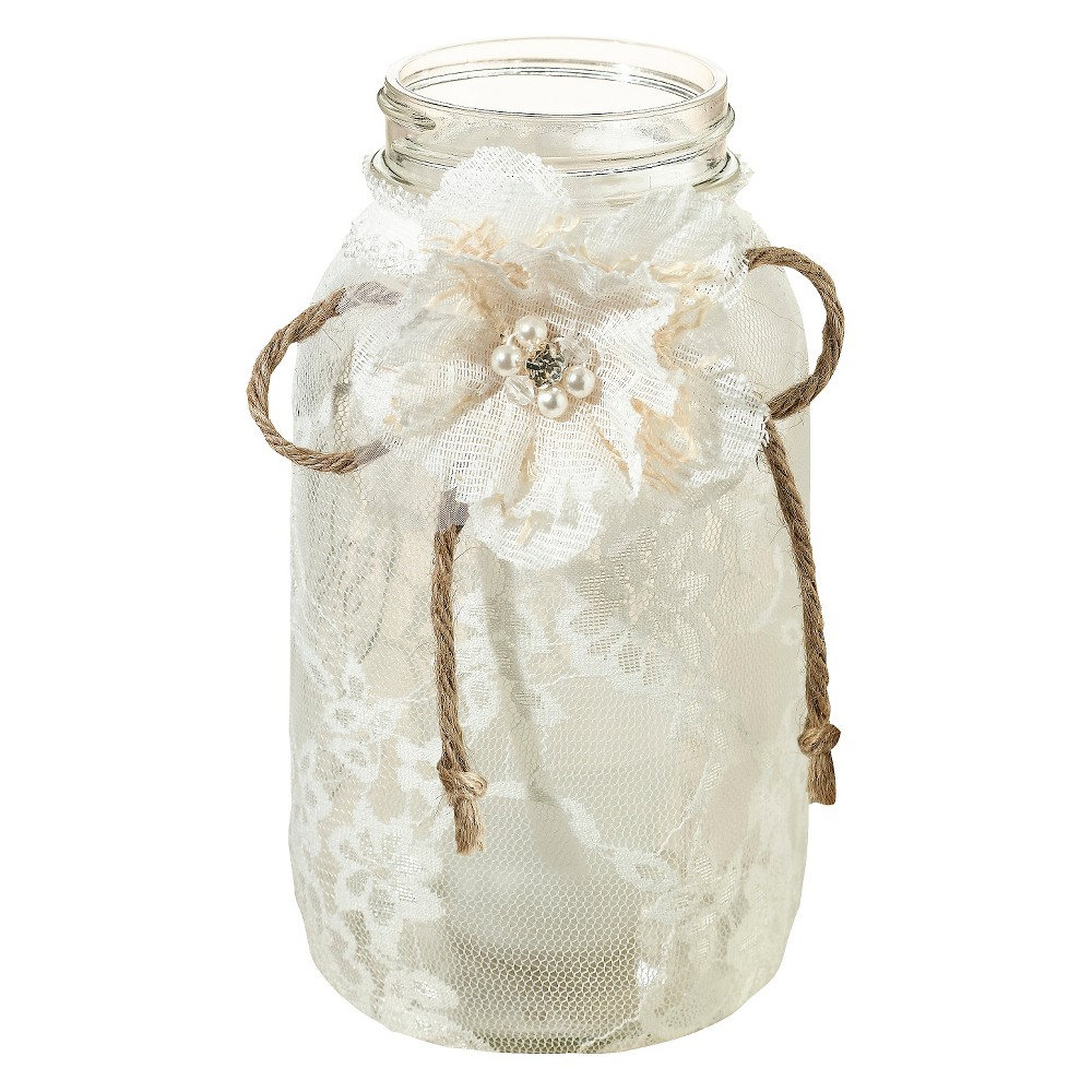 4ct Large Lace Jar Covers, Ivory