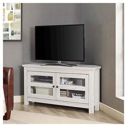 44 Wood Corner Tv Media Stand Storage Console White Saracina Home