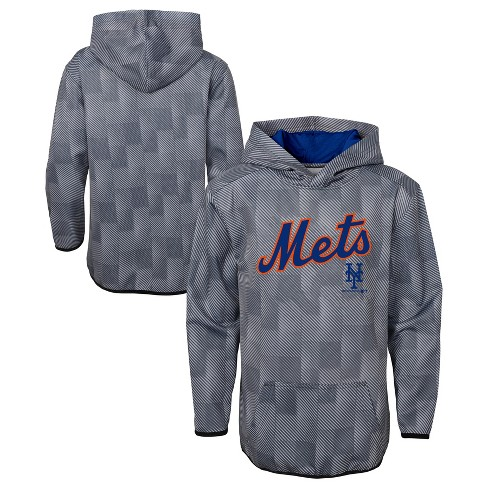 MLB New York Mets Boys' First Pitch Gray Poly Hoodie - image 1 of 3