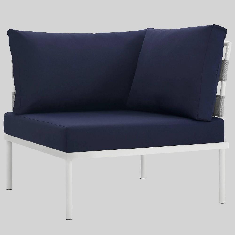 Harmony Aluminum Outdoor Patio Corner Sofa - Navy (Blue) - Modway