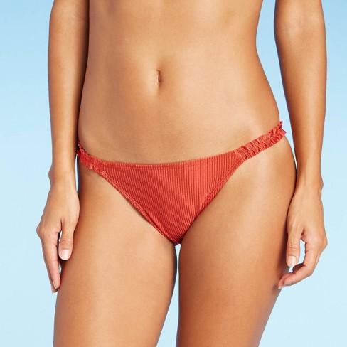 Juniors' Ruffle Side Cheeky Bikini Bottom - Xhilaration™ Copper - image 1 of 4