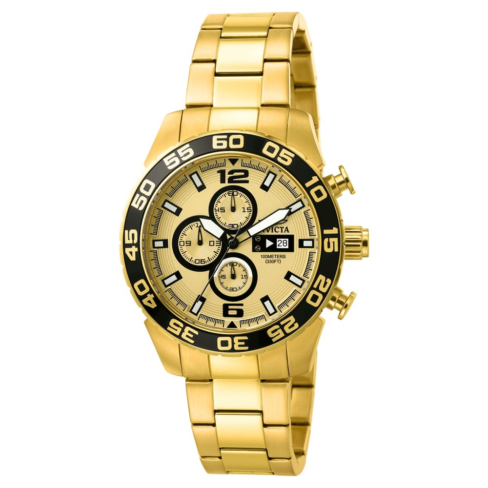 Men's Invicta 1016 Specialty Quartz Chronograph Gold Dial Link Watch - Gold