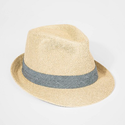 Boys' Woven Straw Fedora Hat - Cat & Jack™ Cream