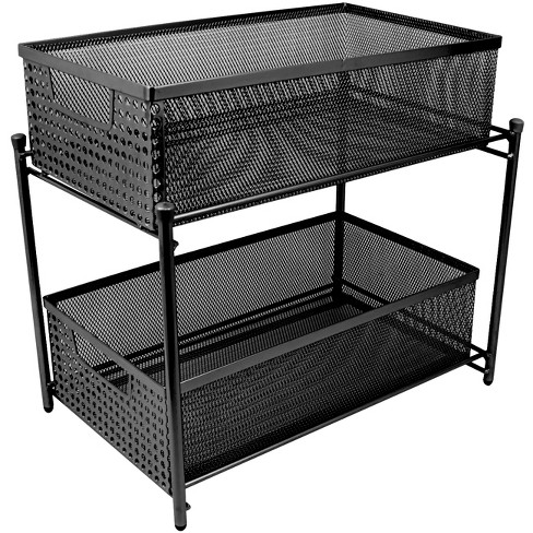 Sorbus 2 Tier Organizer Baskets With Mesh Sliding Drawers Black - image 1 of 4
