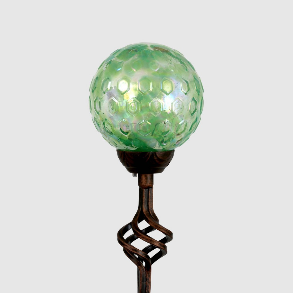 31 Solar Pearlized Glass Honeycomb Finial Resin Garden Stakes Green - Exhart