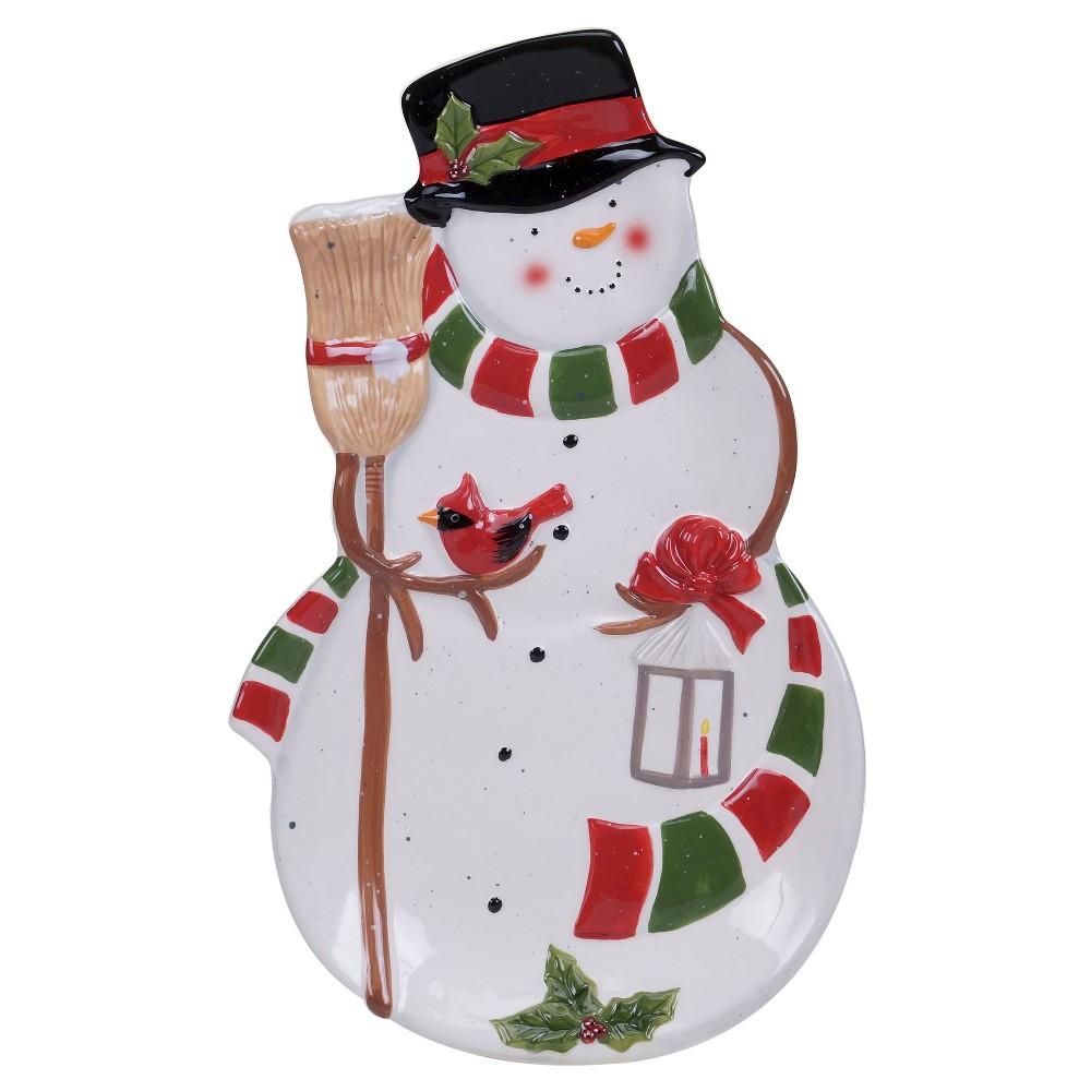 Certified International Snowman's Sleigh 3-D Platter