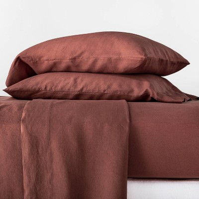 Queen 100% Linen Solid Sheet Set Clay - Casaluna™