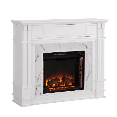 Highpoint Faux Cararra Marble Electric Media Fireplace White - Aiden Lane