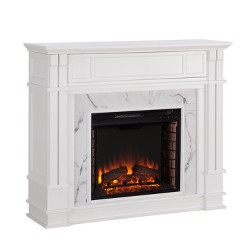 Highpoint Faux Cararra Marble Electric Media Fireplace Aiden Lane