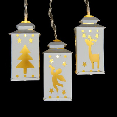 Kurt S. Adler 10ct Battery Operated LED Mini Lantern Christmas Lights White - 4.6' Clear Wire