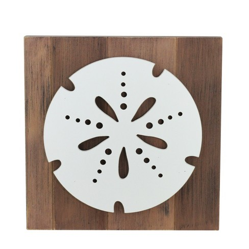 """Darice 15.75"""" White Sand Dollar on Rustic Brown Background Wall Plaque - image 1 of 1"""