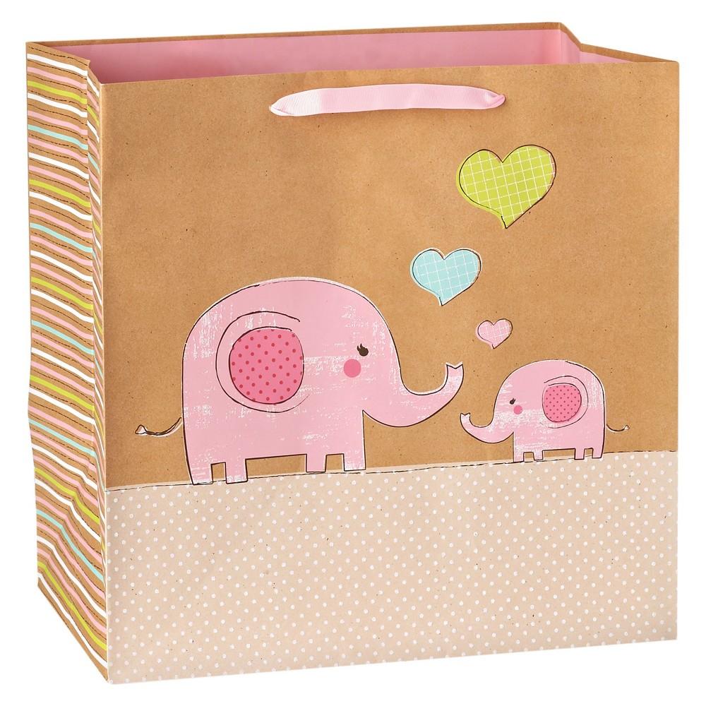 Image of Gift Bag Baby Girl Elephants on Kraft - Spritz