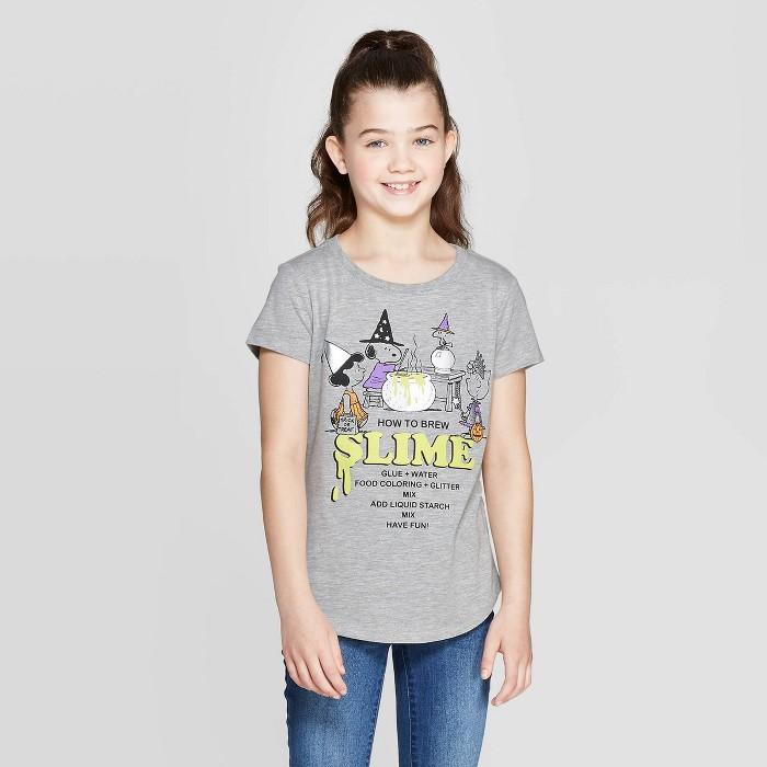 Girls' Snoopy Slime Halloween Short Sleeve T-Shirt - Heather Gray - image 1 of 3