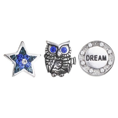 """Treasure Lockets 3 Silver Plated Charm Set with """"A Wise Owl"""" Theme - Silver/Blue"""