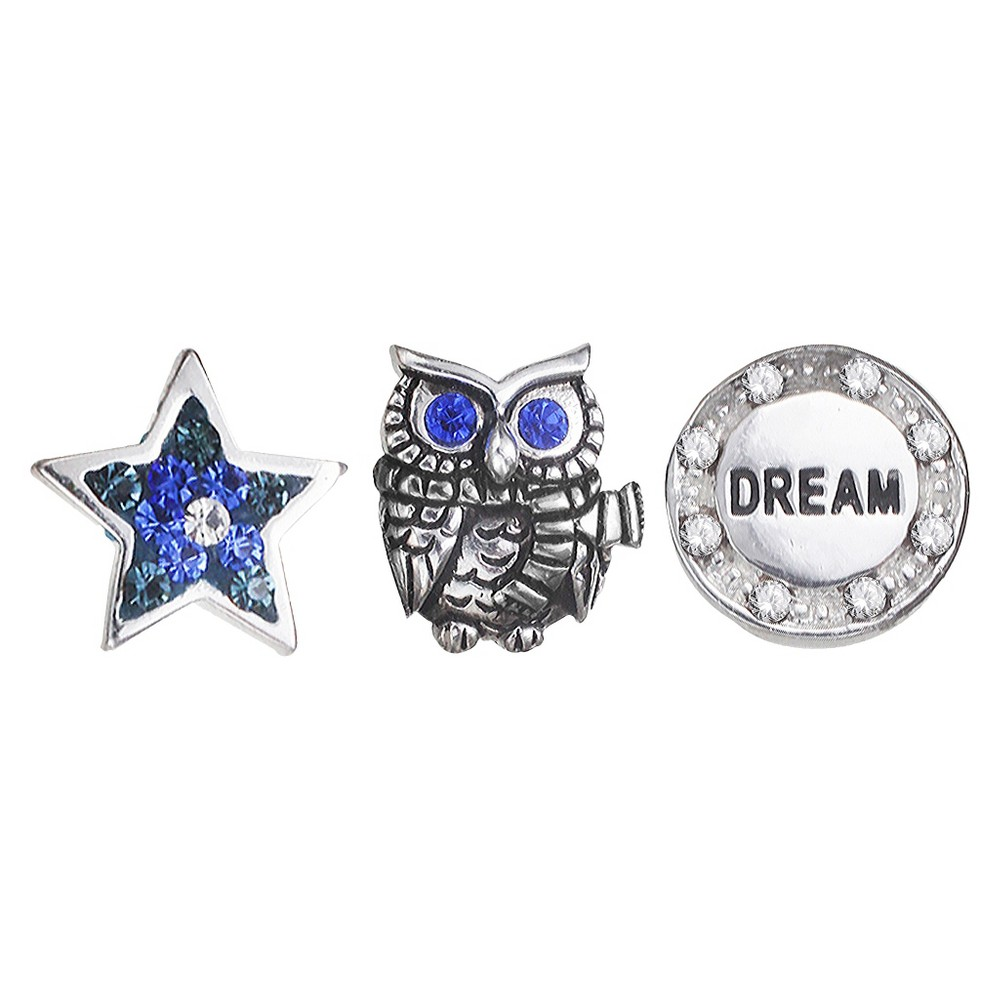 "Image of ""Treasure Lockets 3 Silver Plated Charm Set with """"A Wise Owl"""" Theme - Silver/Blue, Women's, Blue/Silver"""