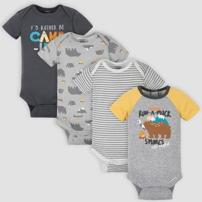 Gerber Baby Boys' 4pk Camping Short Sleeve Onesies - Yellow/Gray 0-3M