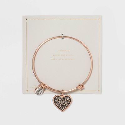 Stainless Steel Family When Life Begins and Love Never Ends Heart Bangle - Rose Gold