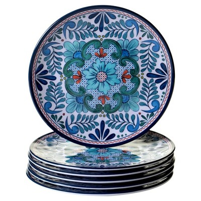 Certified International Talavera by Nancy Green Melamine Salad Plates 9  Blue - Set of 6