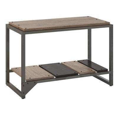 Refinery Shoe Storage Bench Rustic Gray/Charred Wood - Bush Furniture