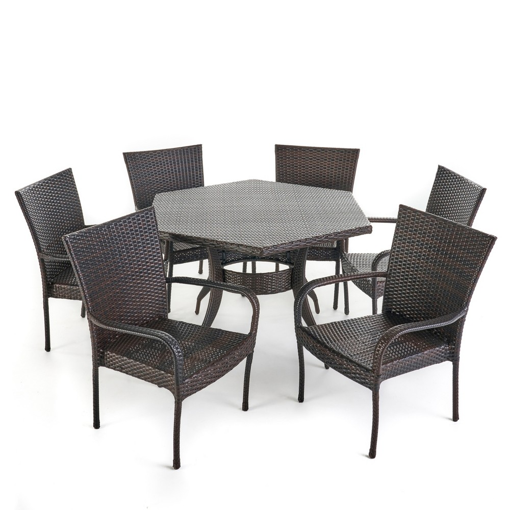 Leighton 7pc Wicker Dining Set - Brown - Christopher Knight Home