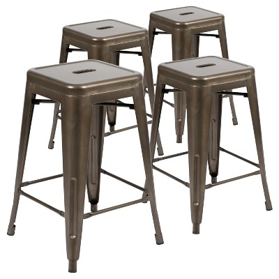 "Flash Furniture 24"" High Metal Counter-Height, Indoor Bar Stool - Stackable Set of 4"