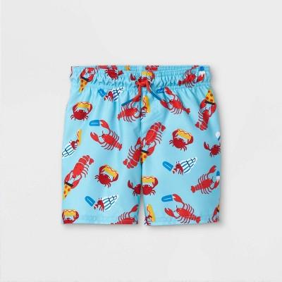 Toddler Boys' Lobster Print Swim Trunks - Cat & Jack™ Blue