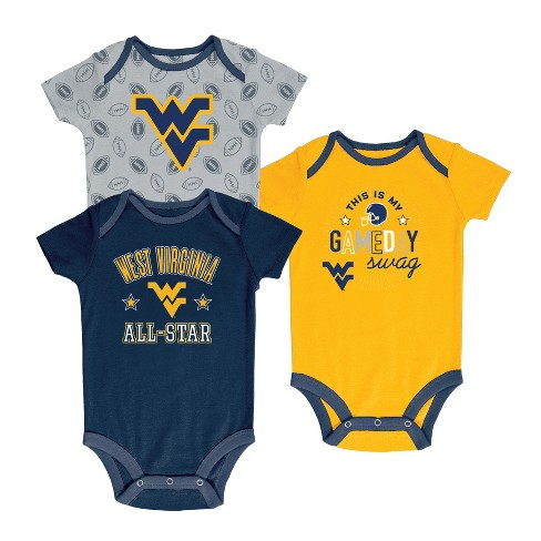 West Virginia Mountaineers Baby Boy Short Sleeve 3pk Bodysuit - image 1 of 3