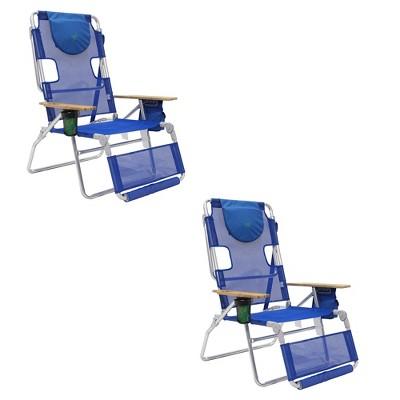 Ostrich 3-N-1 Lightweight Comfortable Altitude Outdoor Lounge Reclining 16-Inch Tall Beach Chair, Blue (2 Pack)