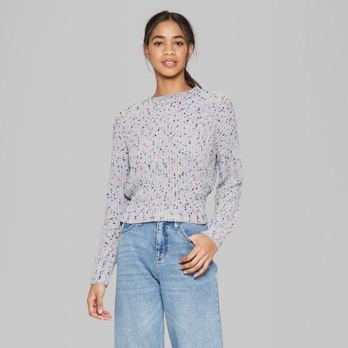 Women s Long Sleeve Mock Neck Rainbow Confetti Sweater - Wild Fable™ Gray    Target 2239e1c14
