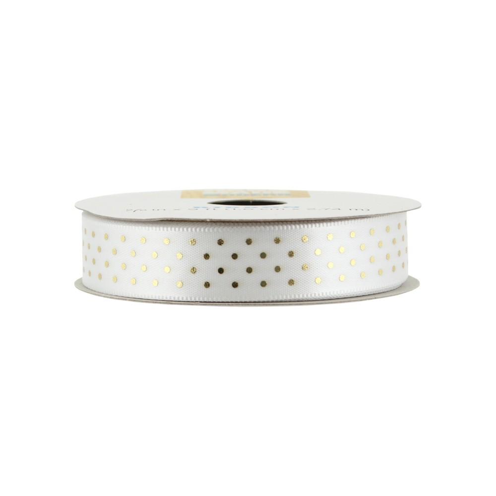 Offray Metallic Pin Dot Ribbon- 5/8 x 9ft - Gold
