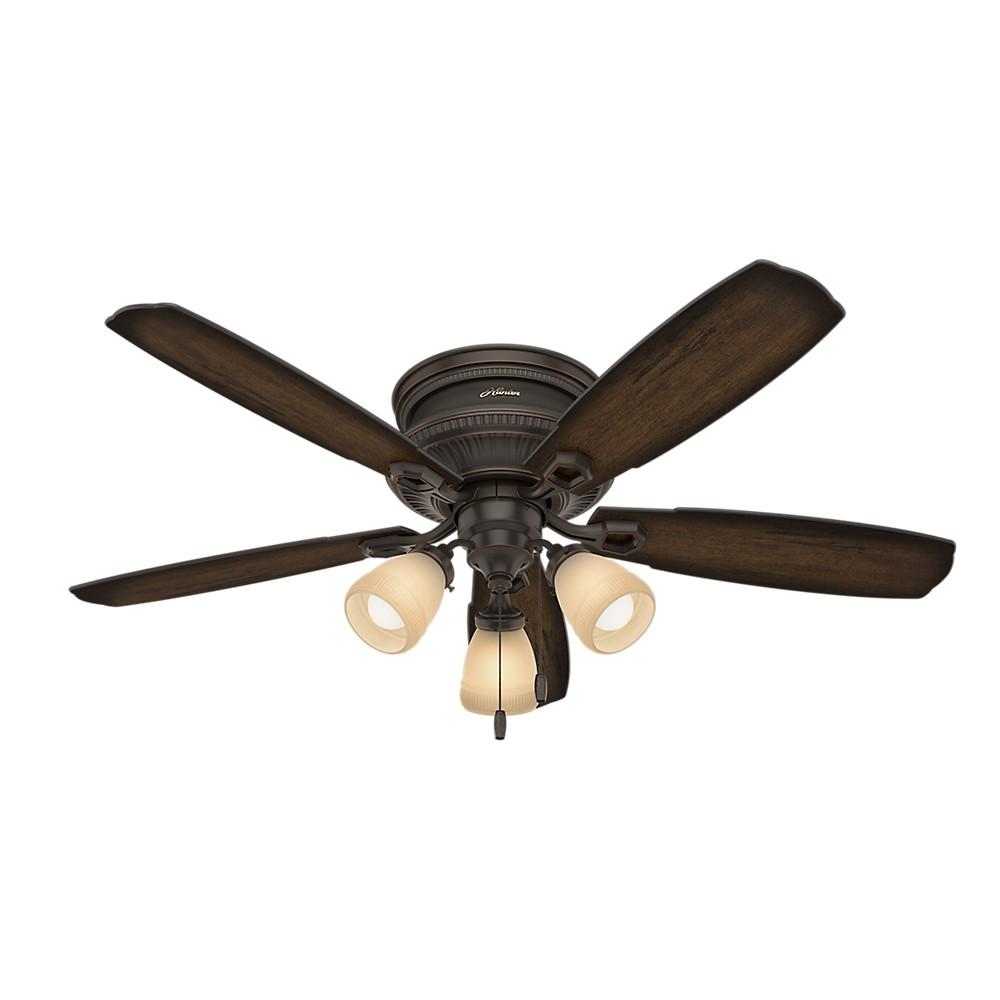 "Image of ""52"""" Ambrose Low Profile 3 Light Onyx Bengal Ceiling Fan with Light - Hunter Fan"""