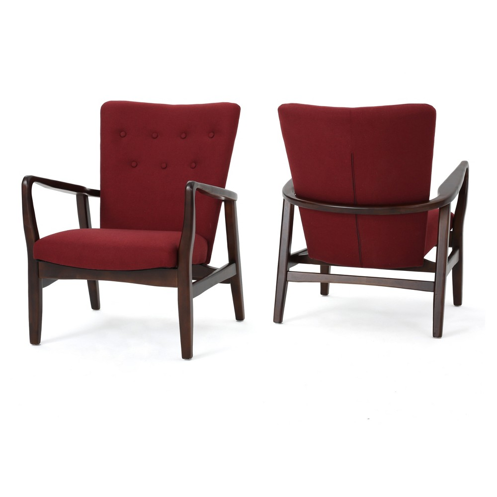Becker Upholstered Arm Chair (Set of 2) - Deep Red - Christopher Knight Home