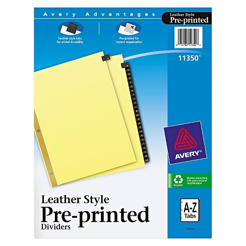 Avery® Gold Reinforced Leather Tab Dividers, 25-Tab, A-Z, Letter, Black, 25/Set - image 1 of 1