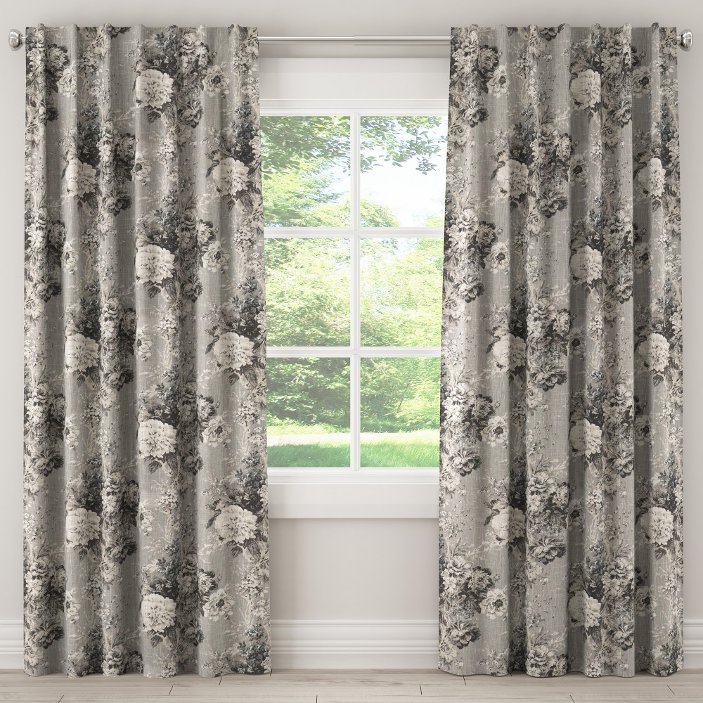 Unlined Curtain Ballad Bouquet Platinum 84L - Skyline Furniture, Gray