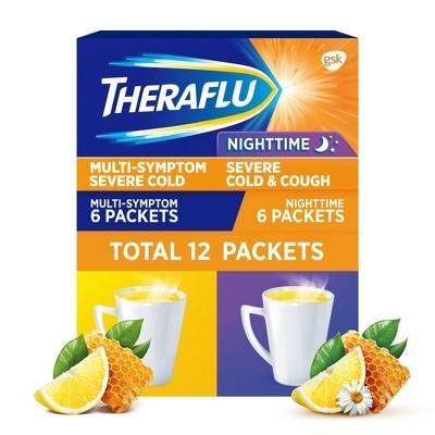 Theraflu Multi-Symptom Severe Cold Day/Night Powder - Acetaminophen - Green Tea/Honey Lemon - 6ct/2pk