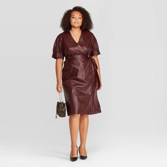 Women\'s Plus Size Short Sleeve V-Neck Midi Dress - Who What Wear™ Plum 3X