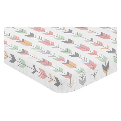 Sweet Jojo Designs Mini Fitted Sheet - Mod Arrow Coral