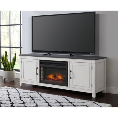 """Del Mar White and Gray 70"""" TV Stand with Electric Fireplace - Martin Svensson Home"""