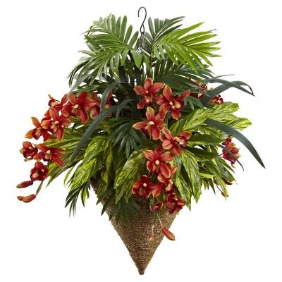 Mixed Tropical & Cymbidium Hanging Basket Red - Nearly Natural